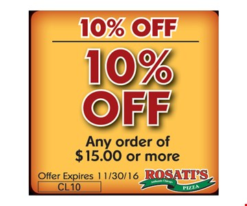10% Off any order of $15 or more