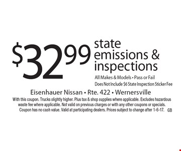 $32.99 state emissions & inspections All Makes & Models - Pass or Fail Does Not Include $6 State Inspection Sticker Fee. With this coupon. Trucks slightly higher. Plus tax & shop supplies where applicable. Excludes hazardous waste fee where applicable. Not valid on previous charges or with any other coupons or specials. Coupon has no cash value. Valid at participating dealers. Prices subject to change after 1-6-17.