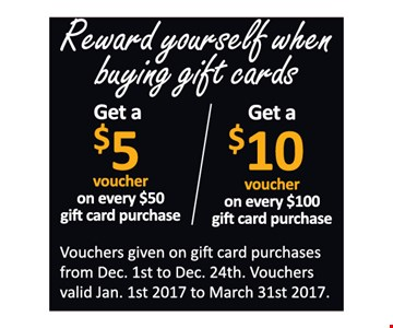 Get a $5 voucher on $50 and $10 voucher on $100 gift card purchases