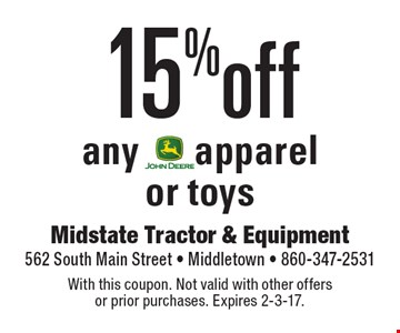 15% off any apparel or toys. With this coupon. Not valid with other offers or prior purchases. Expires 2-3-17.