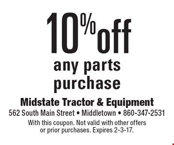 10% off any parts purchase. With this coupon. Not valid with other offers or prior purchases. Expires 2-3-17.