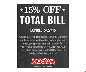 15% Off Total Bill