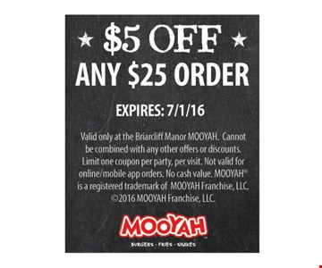 $5 Off any $25 order