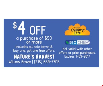 $4 off the purchase of $50 or more