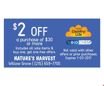 $2 off the purchase of $30 or more
