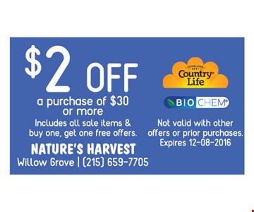 $2 off a purchase of $30 or more