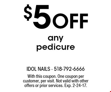 $5 Off any pedicure. With this coupon. One coupon per customer, per visit. Not valid with other offers or prior services. Exp. 2-24-17.