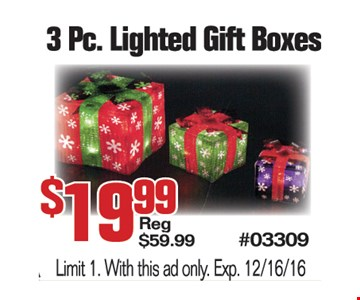 3 Pc Lighted Gift Boxes $19.99