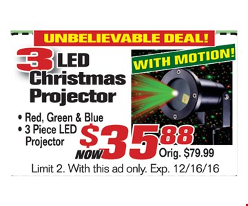 3 LED Christmas Projector $35.88