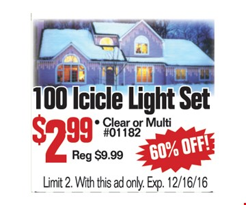 100 Icicle Light Set $2.99