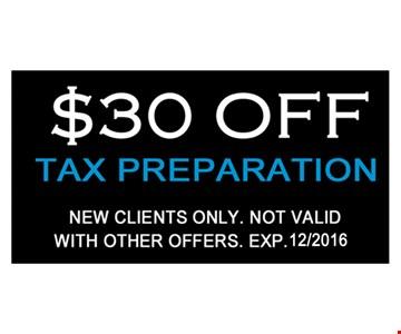 $30 off tax preparation