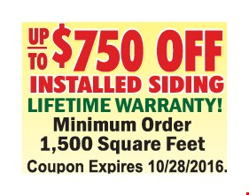 Up to $750 off installed siding