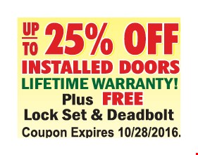Up to 25% off installed doors