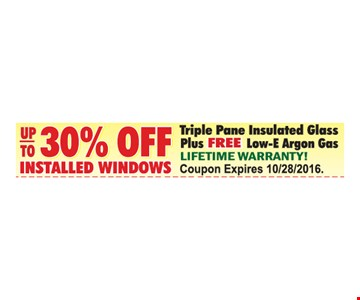 Up to 30% off installed windows