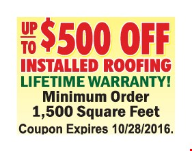 Up to $500 off installed roofing