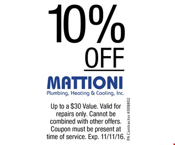 10% off on services. Up to a $30 value. Valid for repairs only. Cannot be combined with other offers. Coupon must be present at time of service. Exp. 11/11/16.