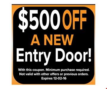 $500 off a new entry door