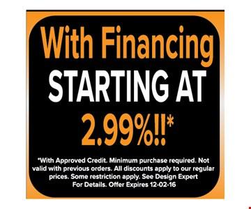 Financing starting at 2.99%*