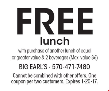 FREE lunch with purchase of another lunch of equalor greater value & 2 beverages (Max. value $6). Cannot be combined with other offers. One coupon per two customers. Expires 1-20-17.