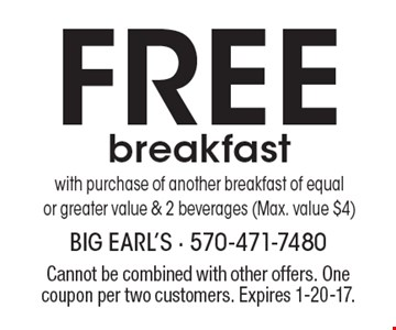 FREE breakfast with purchase of another breakfast of equalor greater value & 2 beverages (Max. value $4). Cannot be combined with other offers. One coupon per two customers. Expires 1-20-17.