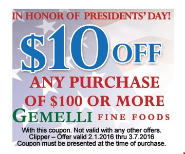 $10 off any purchase of $100 or more