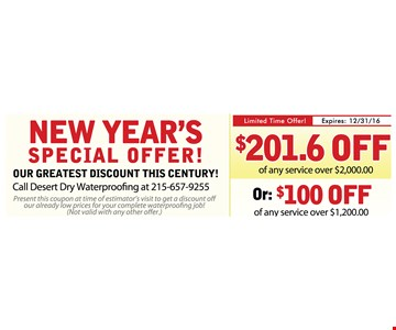 $201.60 Off or $100 Off