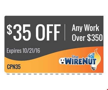 $35 off Any Work Over $350