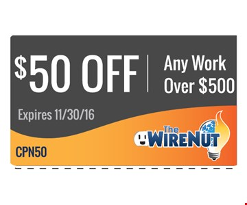 $50 off any work over $500
