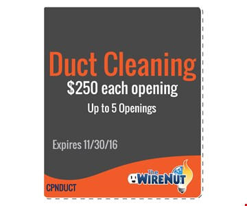 Duct Cleaning $250 Each Opening