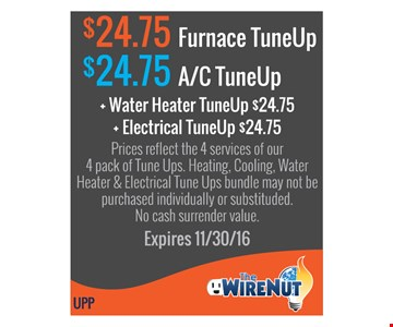 $24.75 Furnace Tune-Up or A/C tune-up