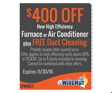 $400 Off New High Efficiency Furnace or AC