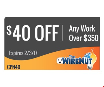 $40 off any work over $350