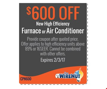 $600 off new high efficiency furnace or air conditioner