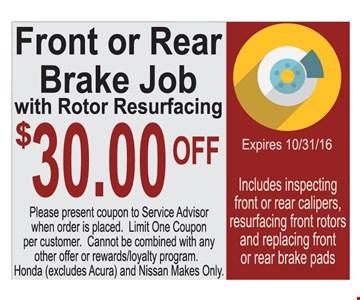 $30 off brake repair.