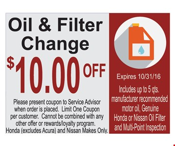 $10 off oil change.