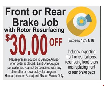 Front or rear brake job $30 off