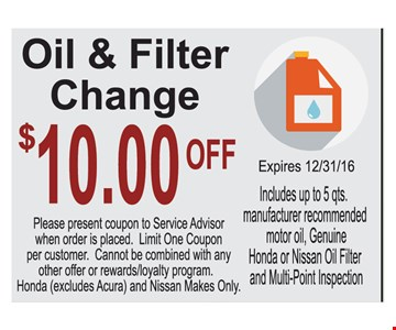 Oil change and filter $10 off