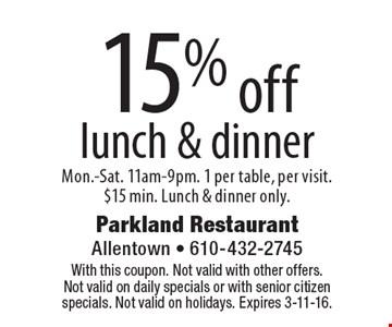 Parkland Restaurant Menu Allentown