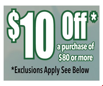$10 off a purchase of $80 or more