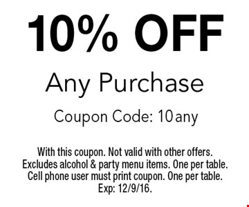 10% OFF Any Purchase Coupon Code: 10 any. With this coupon. Not valid with other offers. Excludes alcohol & party menu items. One per table. Cell phone user must print coupon. One per table. Exp: 12/9/16.