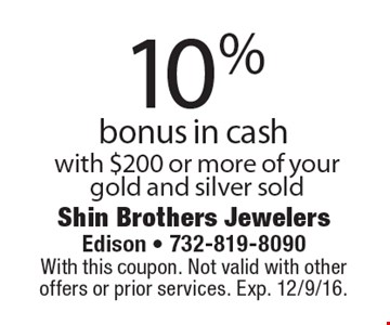 10% bonus in cash, with $200 or more of your gold and silver sold. With this coupon. Not valid with other offers or prior services. Exp. 12/9/16.