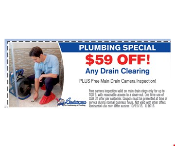 $59 off any drain cleaning