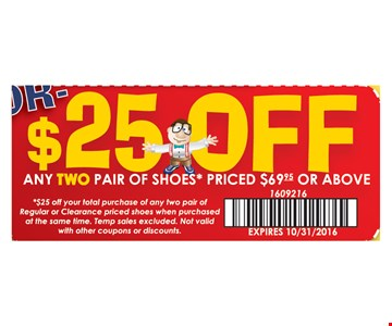 $25 Off any two pair of shoes