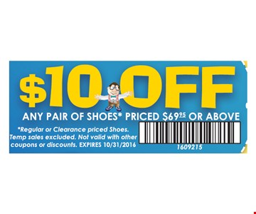 $10 Off any pair of shoes