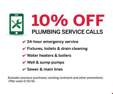 10% off plumbing service calls