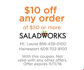 $10 off any $50 order.