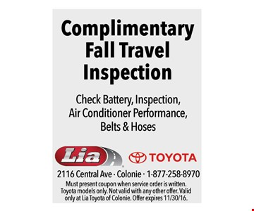 complimentary fall travel inspection