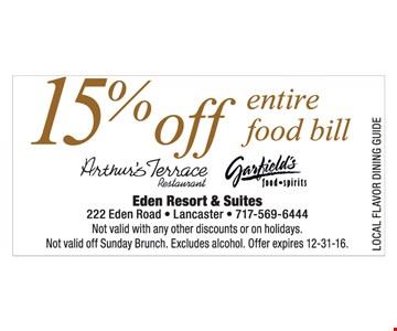 15% off entire food bill