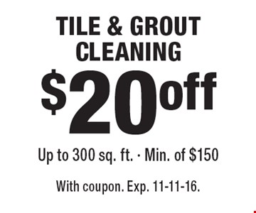 $20 off TILE & GROUT CLEANING Up to 300 sq. ft. - Min. of $150. With coupon. Exp. 11-11-16.