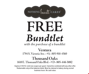 FREE Bundtlet with the purchase of a bundtlet. Expires 3/18/16. Limit one coupon per guest. Cannot be combined with any other offer. Redeemable only at the bakeries listed. Must be claimed in bakery during normal business hours. No cash value.
